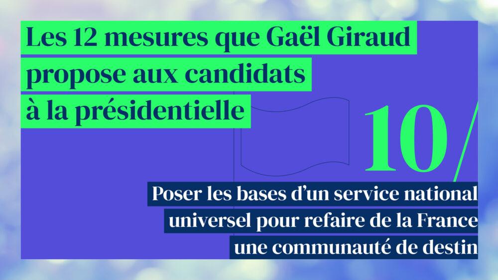 Poser les bases d'un service national universel pour refaire de la France une communauté de destin (mesure 10/12)